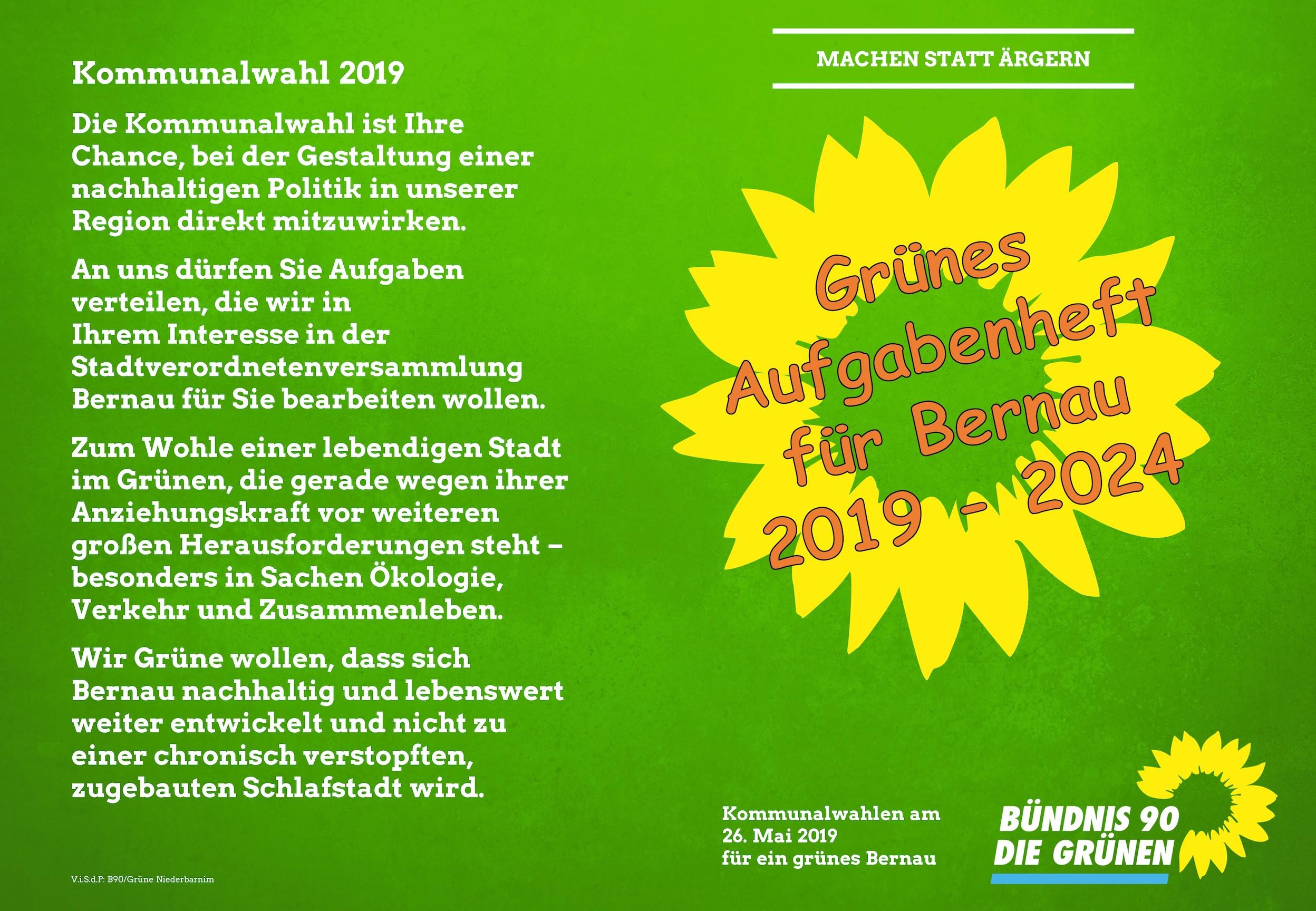 """Wahlflyer Bernau 2019 """"Grünes Aufgabenheft"""""""
